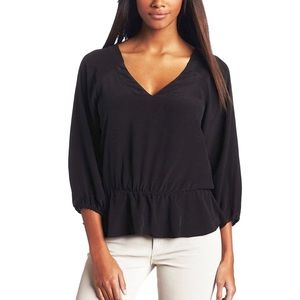 Joie Vertigo Silk Peplum Blouse in Black